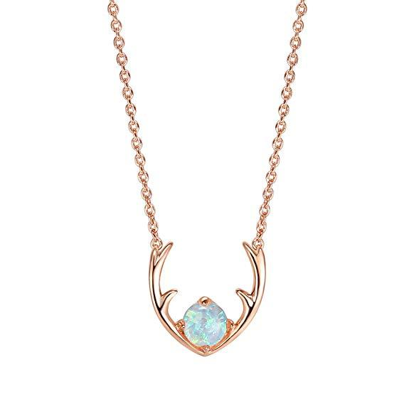 Opal Created Moose Antlers Necklace in 18K Rose Gold Plated