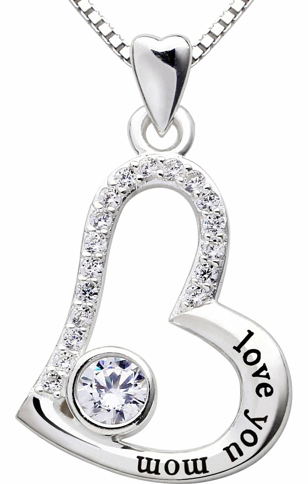 """I Love you MOM"" Heart Necklace"