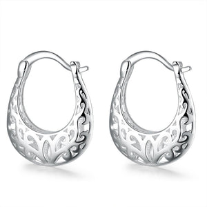 Filigree Leverback French Lock Earringin 18K White Gold Plated