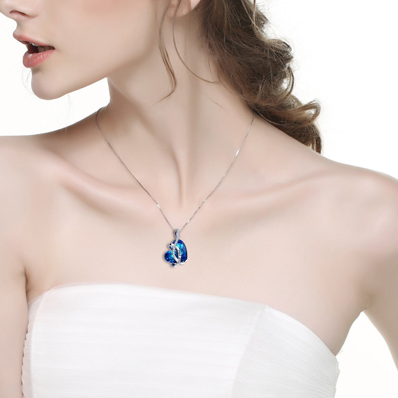 Swarovski Crystals Bermuda Blue I LOVE YOU Heart  Necklace