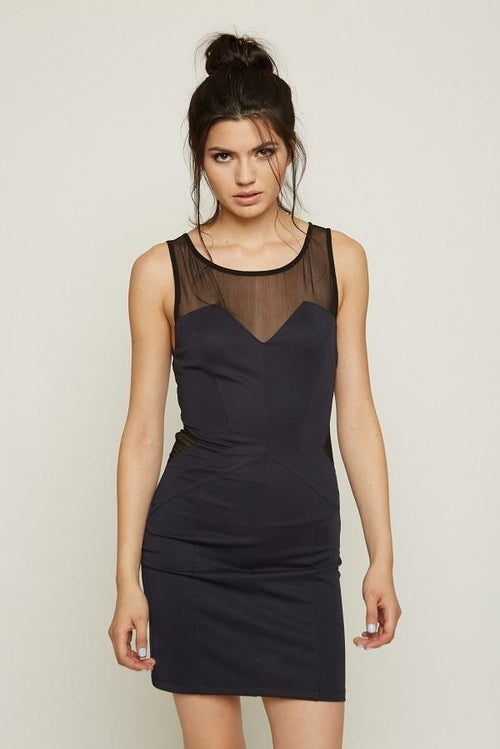 Mesh Cutout Bodycon Dress From United States