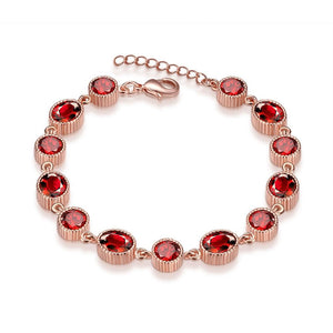 Multi Red Swarovski Elements Tennis Bracelet in 14K Rose Gold