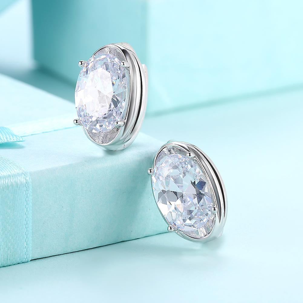 Circular Mid Swarovski Elements Earrings in 18K White Gold