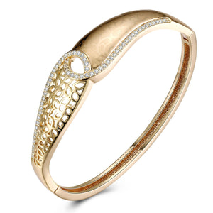 Swarovski Crystal 18K Gold Plated Filigree Twist Bangle