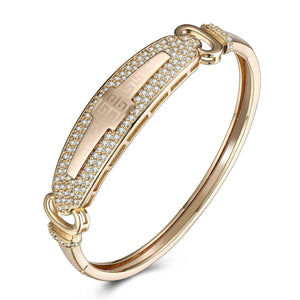 Swarovski Crystal 18K Gold Plated Pave Greek Bangle