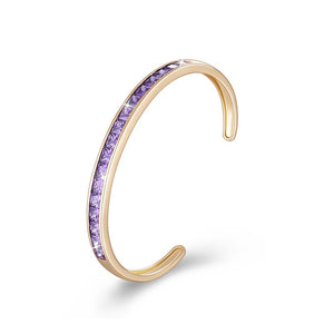 Princess Cut Swarovski Elements Bangle in 14K Gold - Purple