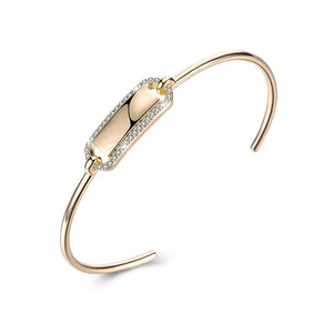 Open Ended Bar Bangle in 14K Gold