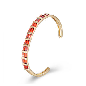 Square Cut Swarovski Elements Cuff Bangle in 14K Gold - Red