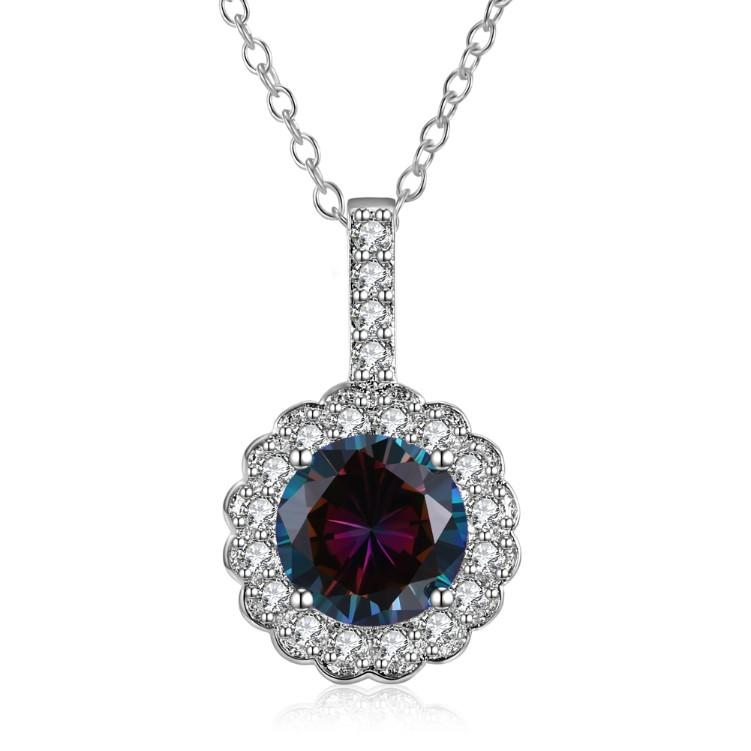 Genuine Mystic Topaz Clover Shaped Pav'e White Gold Necklace