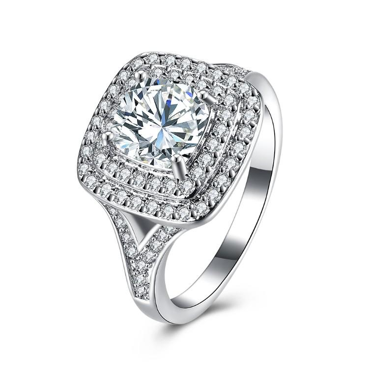 Double Halo Square Engagement Ring