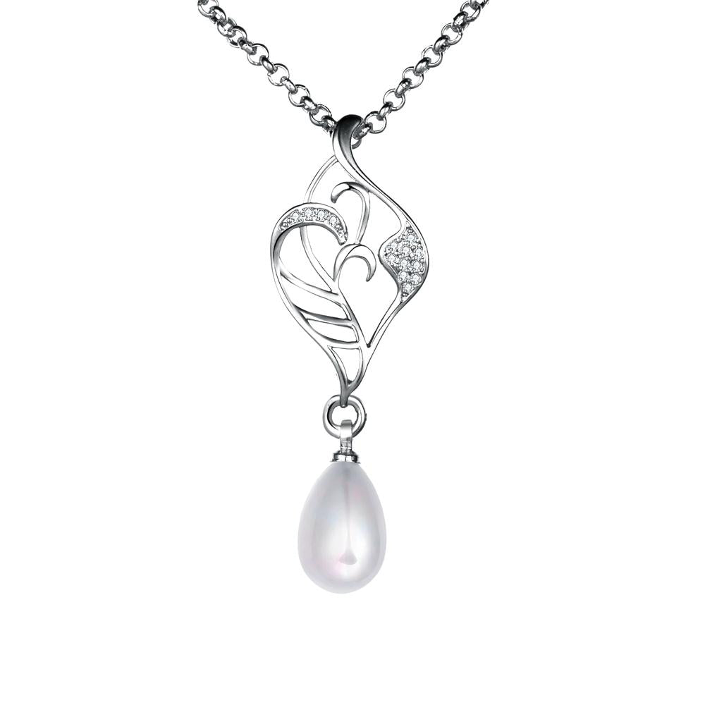 Freshwater Pearl Swarovski Curved Pendant Necklace in 18K White Gold