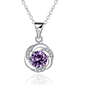 Amethyst Curved Pav'e Necklace Gemstone