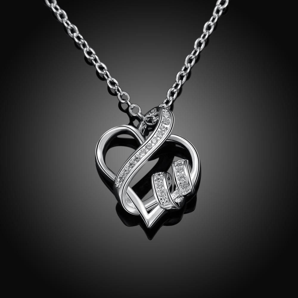 Intertwined Hearts Necklace with Swarovski Elements in 18K White Gold