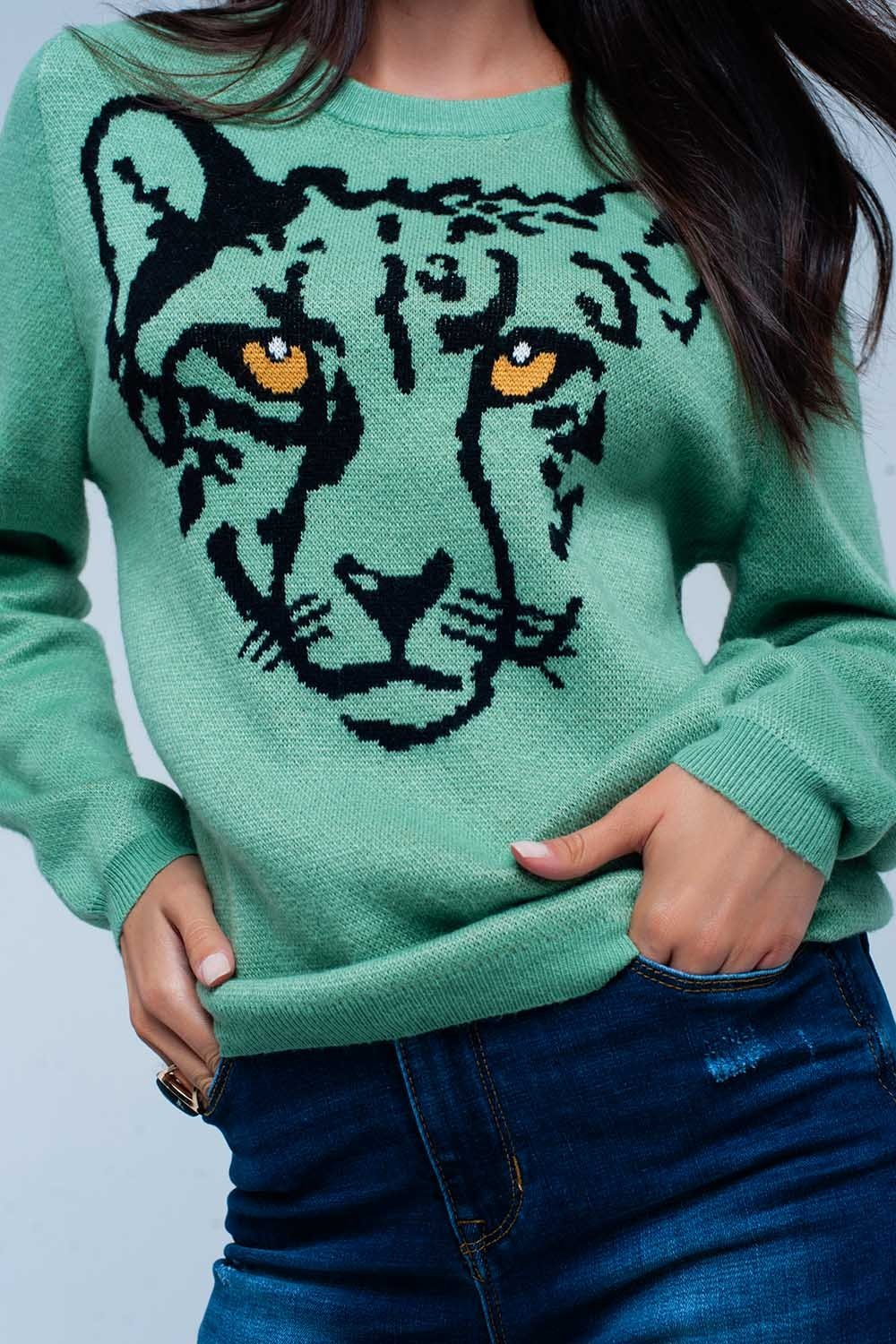 Light Green Knitted Sweater With Leopard