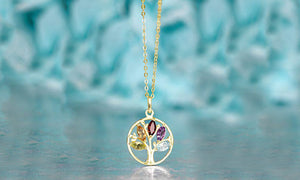 Swarovski Crystals Multi Color Pear Cut Crystal Tree of Life  Necklace