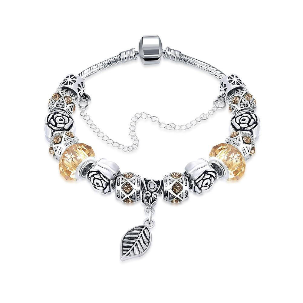 Petite Cream Soda Leaf Branch Pandora Inspired Bracelet