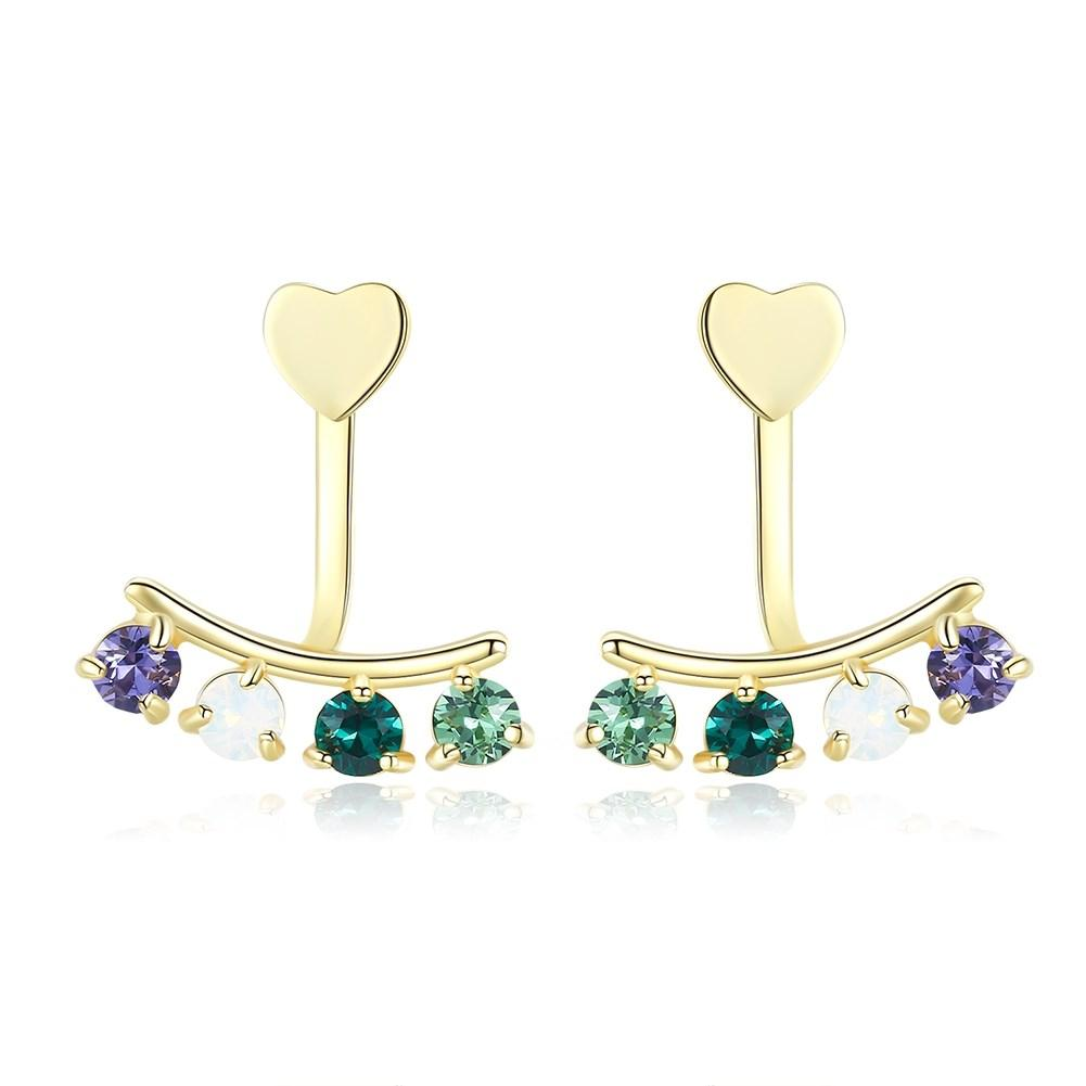 Sterling Silver Multi Stone Clip On Earrings - Gold
