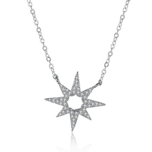 Sterling Silver White Swarovski Star Shaped Necklace