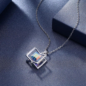 Sterling Silver Aurora Borealis Square Necklace