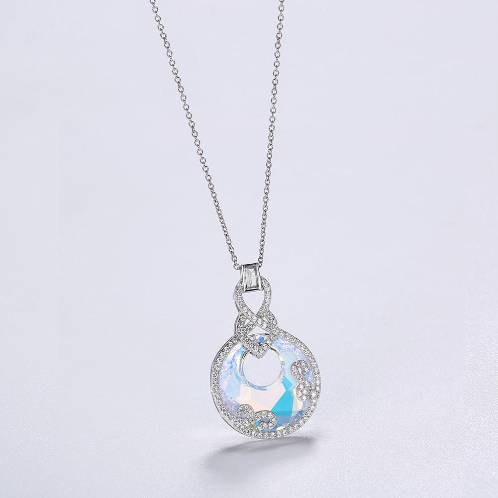 Borealis Stone Sterling Silver Swarovski Crystal Disc Necklace