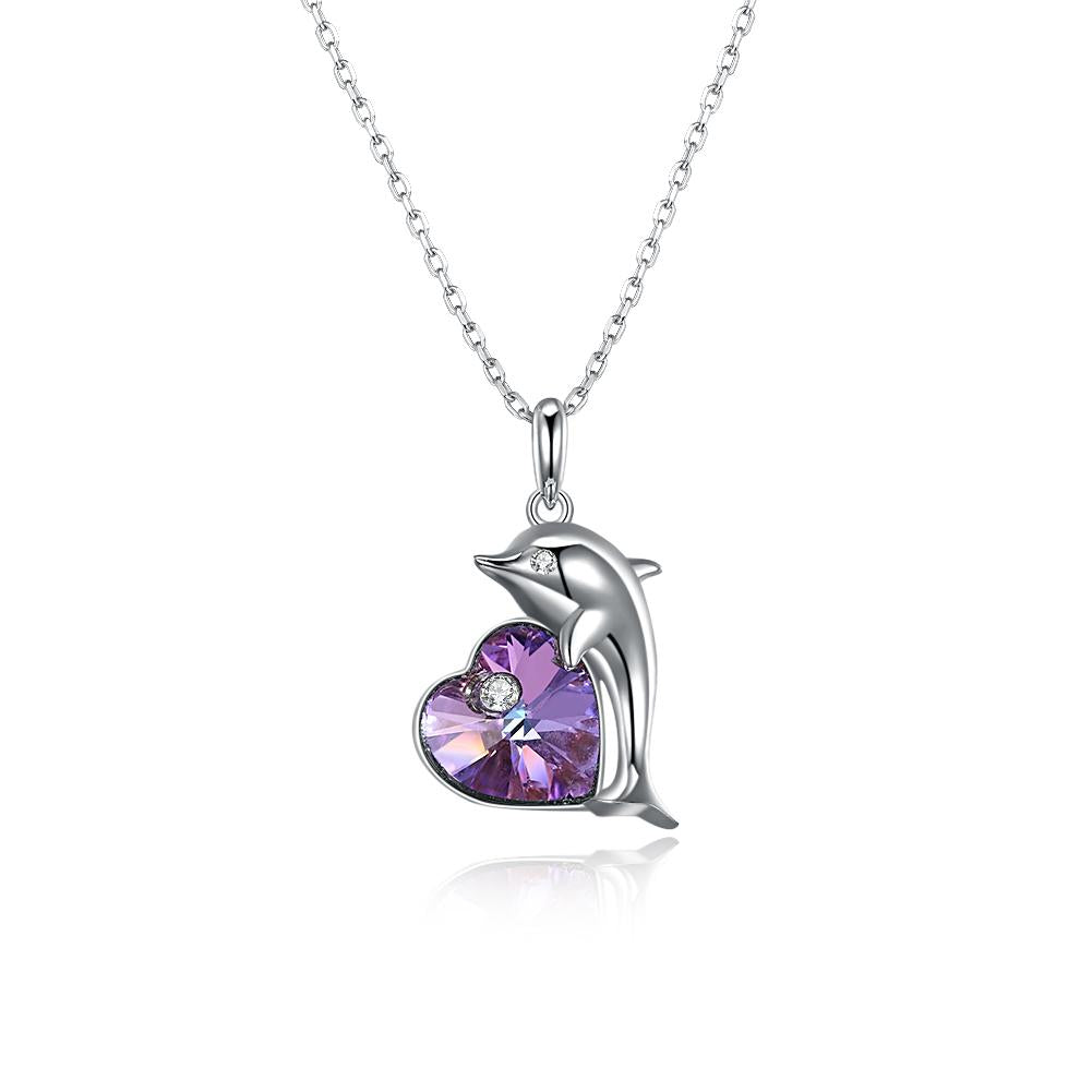 Purple Heart Dolphin Necklace in Sterling Silver with Swarovski Crystal