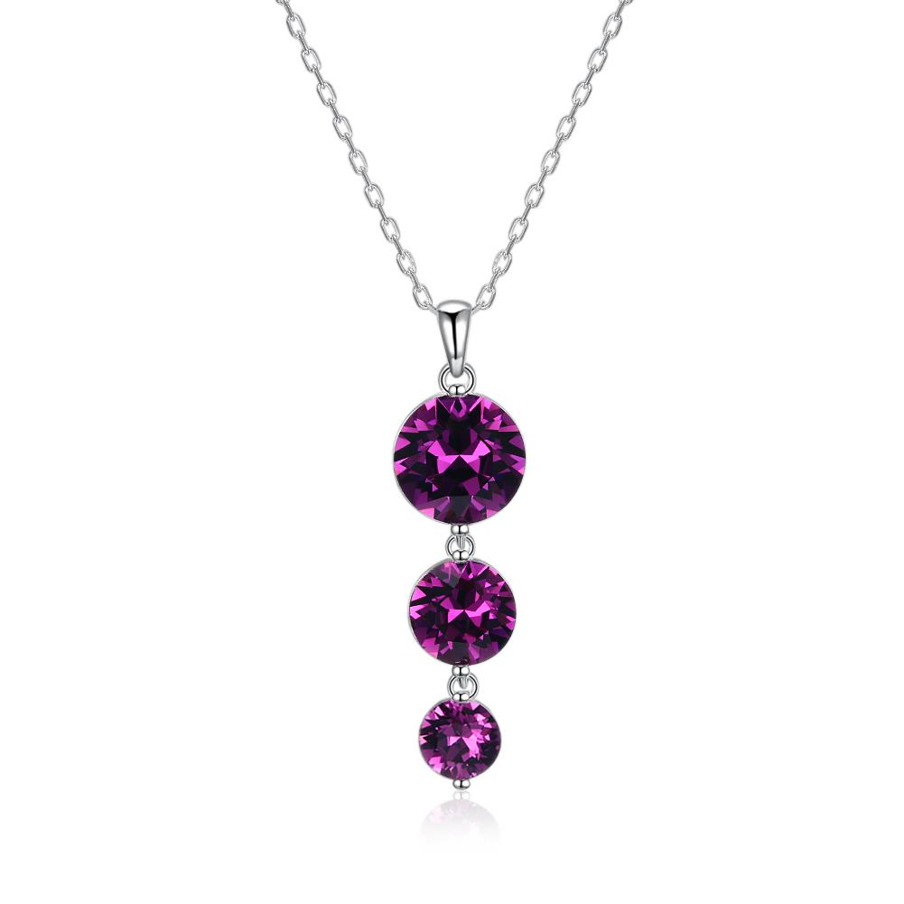 Triple Pink Drop Necklace in Sterling Silver with Swarovski Crystals