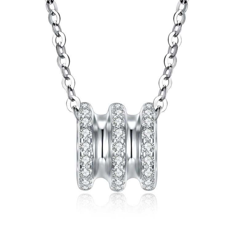 Swarovski Crystal 18K White Gold over Sterling Silver Triple Rib Cage Necklace