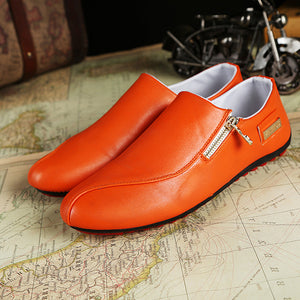 Men Flats Shoes Slip On Casual Comfortable Leather Zipper Loafers Shoes