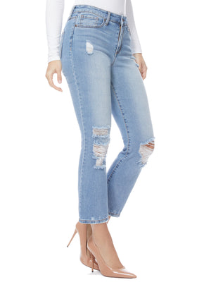 Sofia Jeans by Sofia Vergara Mayra High Waist Destructed Crop Flare Jeans, Women?s