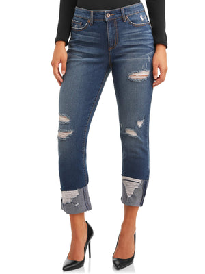Sofia Jeans Veronica Destructed Cuffed High Waist Straight Cropped Jean Women's (Dark)
