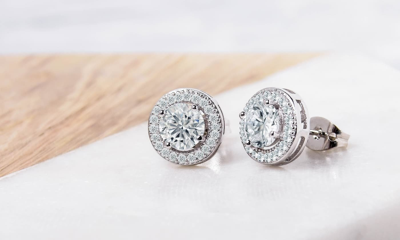 Halo Stud Earrings with Swarovski Elements