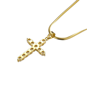 Iced Out Cross 18K Gold Filled with Chain Necklace