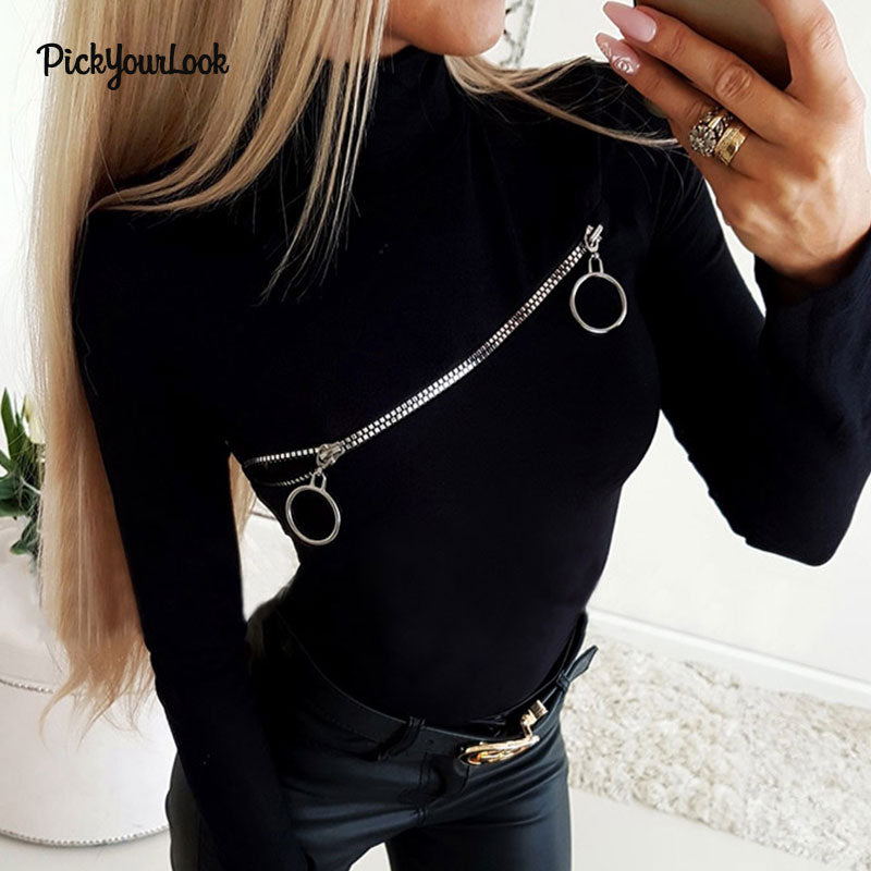 Pickyourlook Zipper Sexy Stand Collar T-Shirt - BuyBest