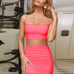 FSDA Ruched Neon Backless Two Piece Set
