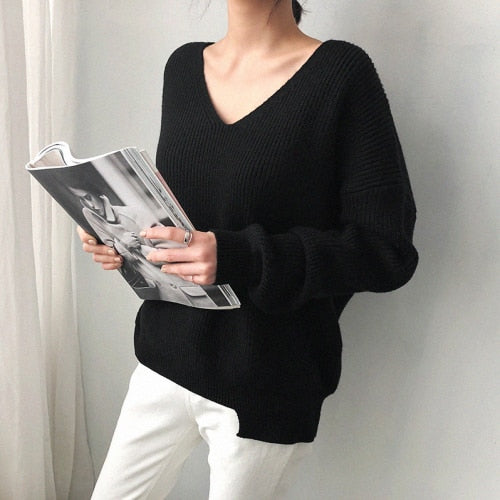 V Neck Black White Sweater
