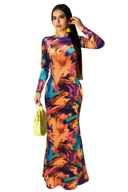 Elegant Multi color Party Maxi Dress