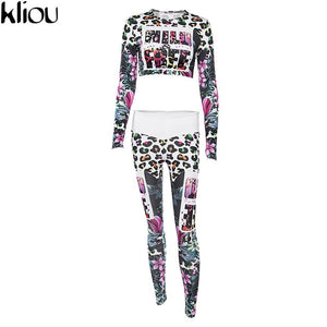 Kliou Fitness Tracksuit Digital Printed Two Pieces Sets