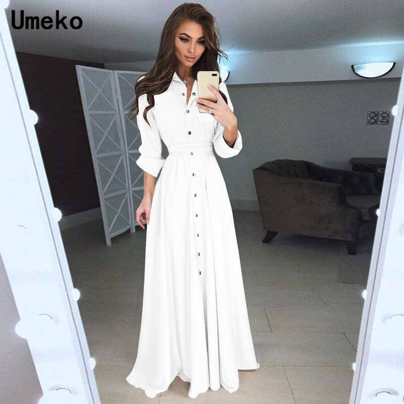 Umeko Black White Shirt Dress