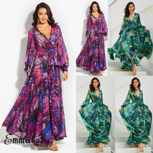 Floral Printed Boho Long Sleeve Chffion Maxi Dress