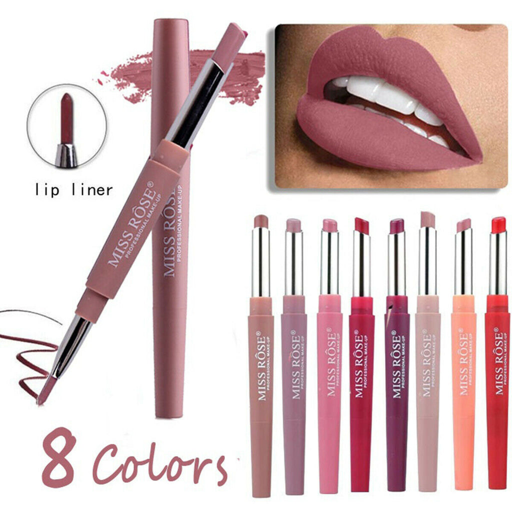 NEW MISS ROSE Waterproof Long Lasting Pencil Lipstick Pen Matte Lip Liner Makeup