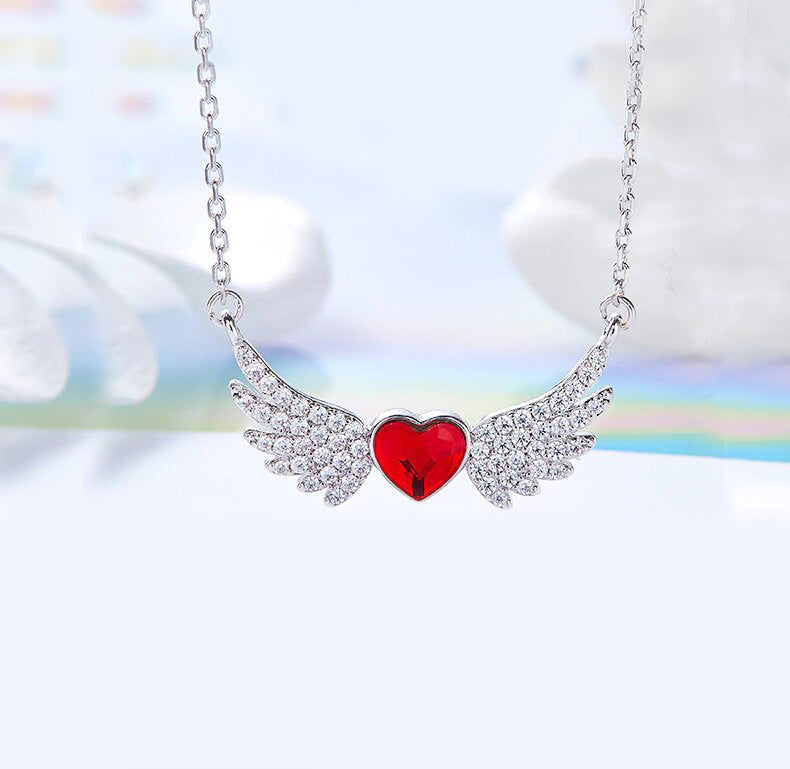 Swarovski Crystals 4.00 Ct Ruby Flying with the Wings of an Angel Necklace