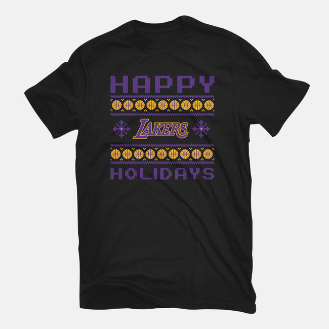 Happy Holidays-womens fitted tee-RivalTees
