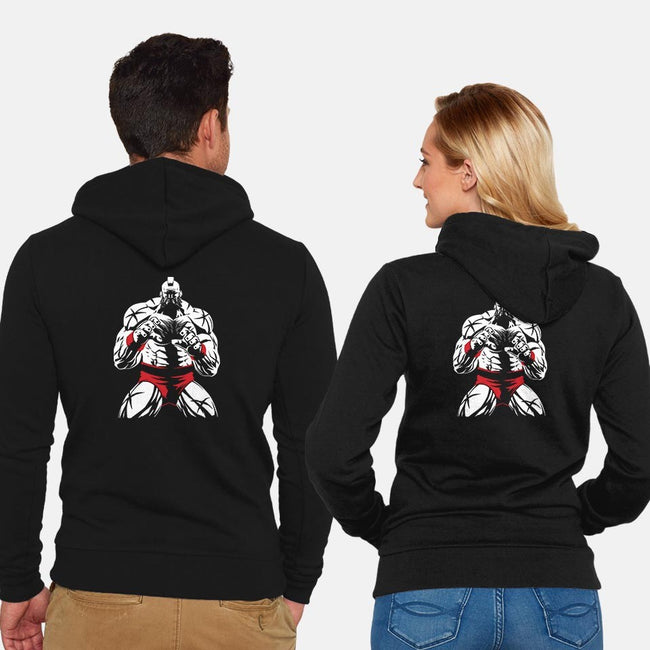 Spinning Piledriver-unisex zip-up sweatshirt-Fuacka
