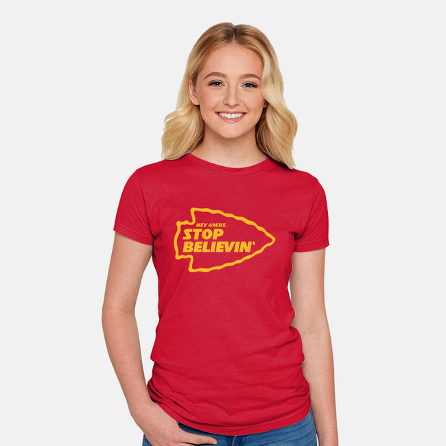 Stop Believin-womens fitted tee-RivalTees
