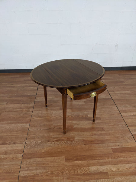 Henkel Harris Banded Drop Leaf Pembroke Table.