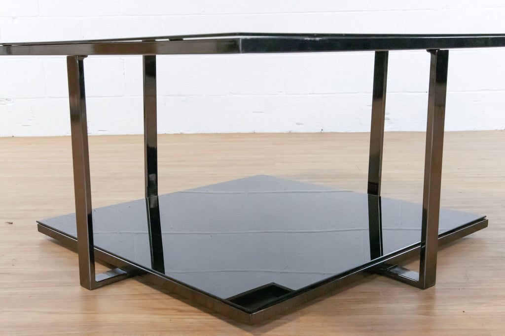 Two Tiered Mirror & Metal Coffee Table