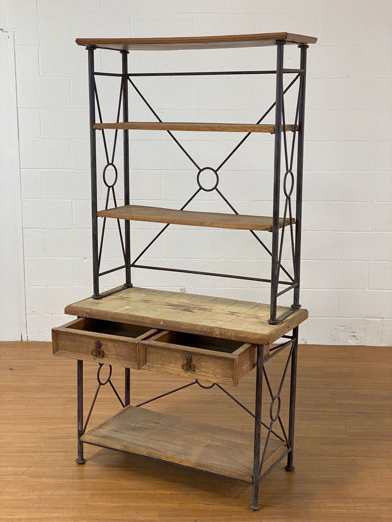 Rustic Wood and Metal Baker's Rack