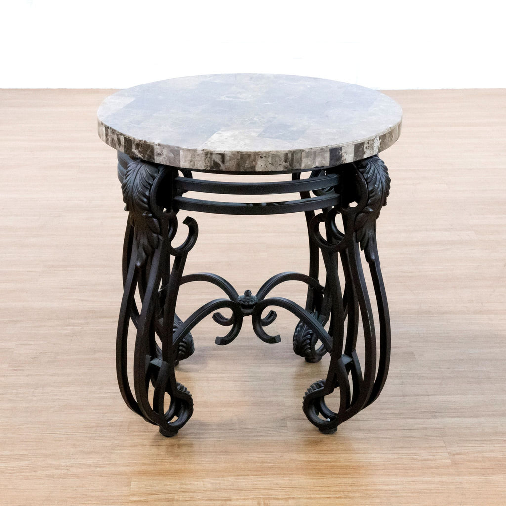 Faux Marble Top Metal End Table
