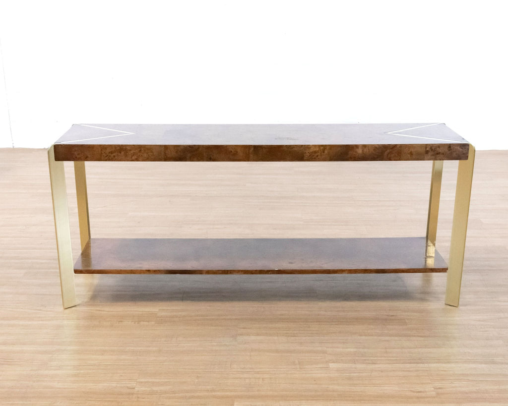 Burlwood and Metal Console Table