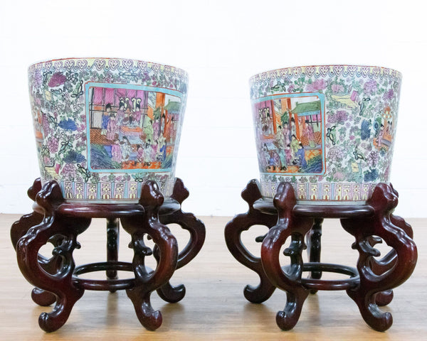 Pair of Chinese Ceramic Planters with Wooden Stand